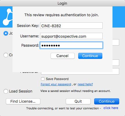 cineSync 4 1 User Manual : Guest Login